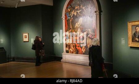 London, UK. 30th Jan, 2019. Visitors are seen attending the Exhibition by Lorenzo Lotto (1467- 1556/7) at the National Gallery. The exhibition is free for members of public from 5th of November till 10th of February 2019. Credit: Ioannis Alexopoulos/SOPA Images/ZUMA Wire/Alamy Live News - Stock Photo