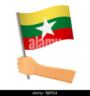 Myanmar flag in hand. Patriotic background. National flag of Myanmar  illustration - Stock Photo