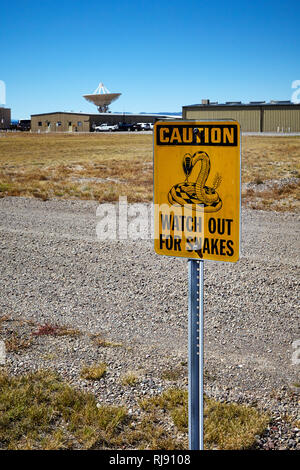 Rattlesnake warning sign at the Very Large Array, VLA, New Mexico, USA - Stock Photo