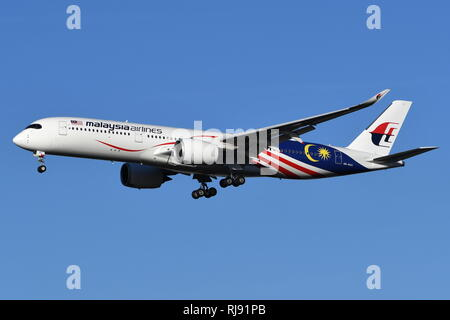 AIRBUS A350-900 9M-MAG OF MALAYSIA AIRLINES. - Stock Photo