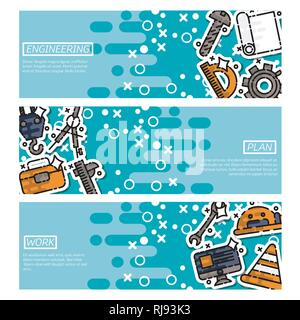 Set of Horizontal Banners about engineering. Vector design concept. - Stock Photo