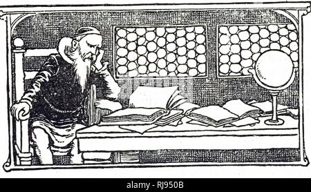 An engraving depicting a scholar reading his texts. Dated 20th century - Stock Photo