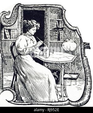 An engraving depicting a woman testing milk for adulteration with water. A highly polished knitting needle is dipped in a container of milk: when withdrawn it will have a greasy coating from fat globules. If the milk is watered the coating will be thinner. Dated 19th century - Stock Photo