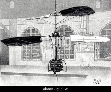 An engraving depicting an electrically powered helicopter. Dated 20th century - Stock Photo