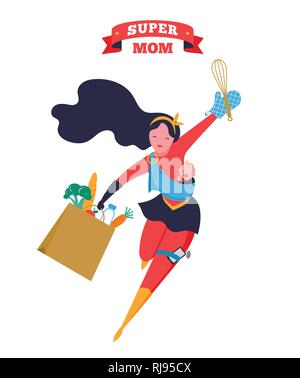 Super Mom. Flying superhero mother carrying a baby. Vector illustration - Stock Photo