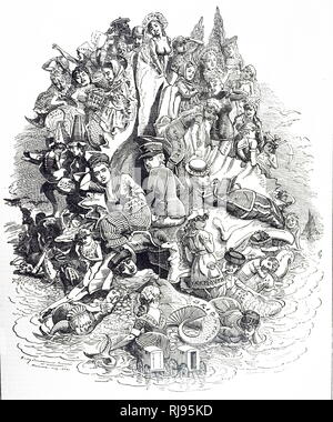 A cartoon commenting on British seaside resorts, each given prominence it earned by the number of visitors it attracted. Illustrated by Edward Linley Sambourne (1844-1910) an English cartoonist and illustrator. Dated 19th century - Stock Photo