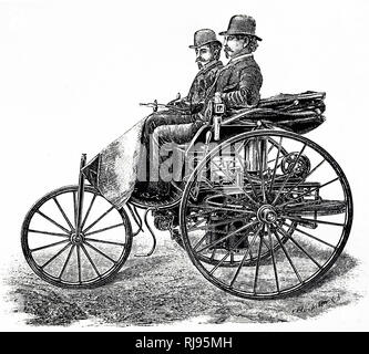 Illustration showing Karl Benz, driving the Benz Patent-Motorwagen, built in 1885, the world's first production automobile,(vehicle), propelled by an internal combustion engine. Benz unveiled his invention to the public on 3 July 1886, on the Ringstrasse in Mannheim. - Stock Photo
