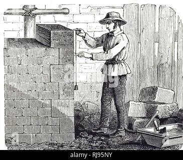 19th century illustration; depicting, a builder checking the angle of a wall with a plumb line. English; 1887 - Stock Photo