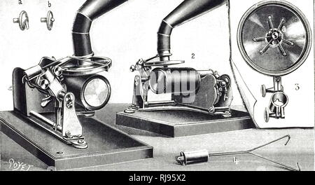 An engraving depicting Z. Burguet's diaphragm for recording (1) and playing (2) cylinders. Dated 20th century - Stock Photo
