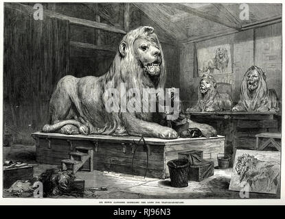 Sir Edwin Landseer at work on the models for the lions at the base of Nelson's Column in Trafalgar Square, London - Stock Photo