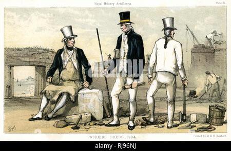 British artificers in working dress - Stock Photo