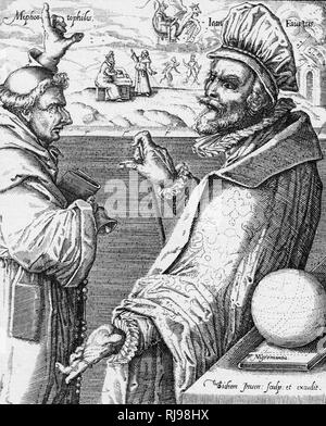Doctor Faustus with Mephistopheles dressed as a monk. - Stock Photo