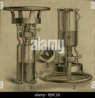 . The chemistry of farm practice. Agricultural chemistry. MATERIALS PRODUCING HEAT AND LIGHT 237 in a glass bottle which is held in place by a metallic device which permits the acid to flow out when the ex- tinguisher is overturned. The arrangement of these. Fig. 77.—Working parts of Fire Extinguisher. 1. Position of acid bottle and decomposing cup C when the Underwriters Extinguisher is not in action. A, cage for acid bottle. B, movable support for opening cage. C, acid decomposing cup acting as bottle closure. D, upper pro- jection or guide stem, operating in socket F. E, lower projection or - Stock Photo