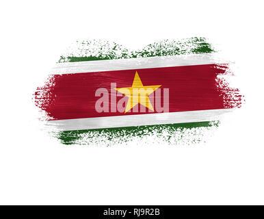 brush painted flag of Suriname isolated on white background. - Stock Photo