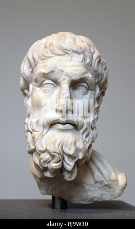 Marble head of Greek philosopher Epicurus (341-270 BC).  Roman copy. Imperial era, 2nd century AD. The Met. Ny, USA. - Stock Photo