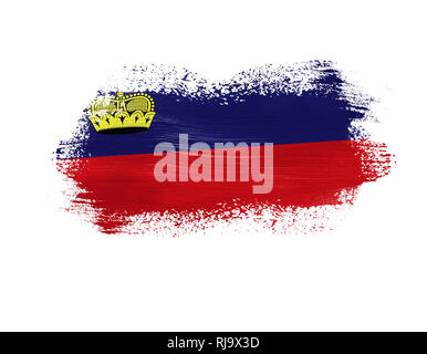 brush painted flag of Liechtenstein isolated on white background. - Stock Photo