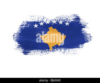 brush painted flag of Kosovo isolated on white background. - Stock Photo