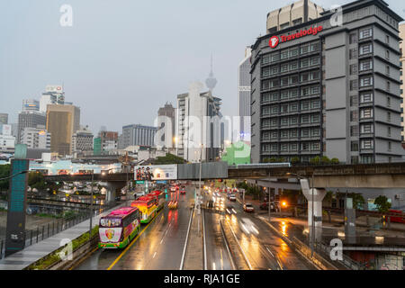 The traffic on the streets during a rainy day in Kuala Lumpur, Malaysia - Stock Photo