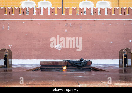 MOSCOW, RUSSIA - JANUARY 25, 2019: The Tomb of the Unknown Soldier with Eternal Flame, war memorial, dedicated to Soviet soldiers killed during World  - Stock Photo