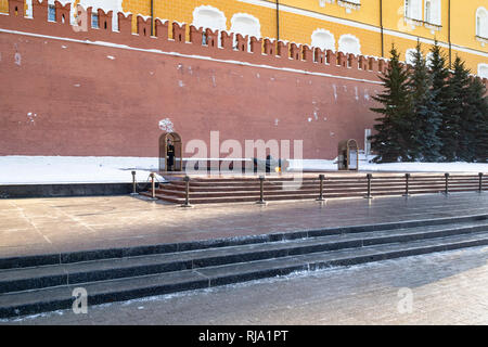 MOSCOW, RUSSIA - JANUARY 25, 2019: view of Tomb of the Unknown Soldier with Eternal Flame, war memorial, dedicated to Soviet soldiers killed during Wo - Stock Photo