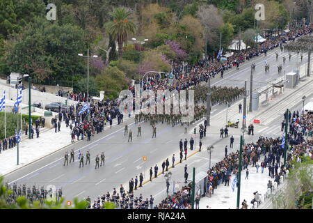 Greek military, parade in Athens for the 2018 Independence Day Celebrations. Greece is a member of the North Atlantic Treaty Organization (NATO). - Stock Photo