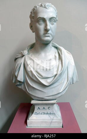 Anthony Ashley ??????, 3rd Earl of Shaftesbury (1671-1713). Marble bust, 1766 by Peter Gaspar Scheemakers (1691-1781). Anthony Ashley Cooper, 3rd Earl of Shaftesbury; English politician, philosopher and writer. - Stock Photo