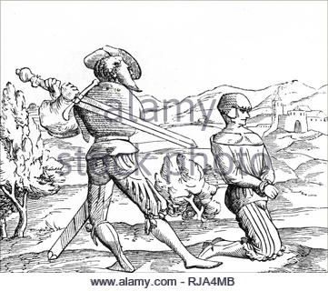 Engraving depicting death by decapitation: The executioner