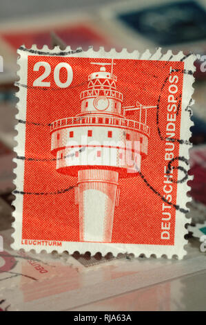 Kiev, Ukraine, February 05, 2019: Postage stamp of Germany. Edition on Industry and Technology, shows Lighthouse Alte Weser, circa 1976 - Stock Photo