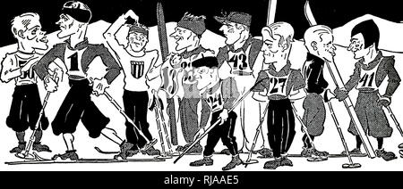 Cartoon of the cross-country skiing at the 1932 Winter Olympic games. - Stock Photo