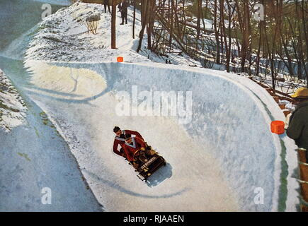 Photograph of the German two man Bobsleigh team at the 1932 Winter Olympic games. Gold was won by the American team. - Stock Photo