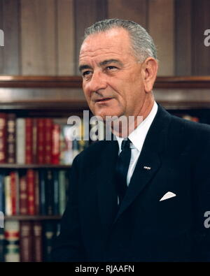 Lyndon Baines Johnson (1908 – 1973), referred to by his initials LBJ, was an American politician who served as the 36th President of the United States from 1963 to 1969, assuming the office after having served as the 37th Vice President of the United States from 1961 to 1963. - Stock Photo