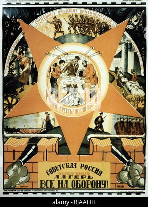 Russian propaganda poster declaring 'Give everything to defend Soviet Russia' circa 1936 - Stock Photo