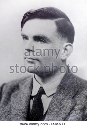 Alan Turing (1912 – 1954), English computer scientist, mathematician, logician, cryptanalyst, philosopher, theoretical biologist. - Stock Photo