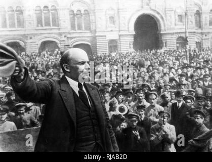 photograph of Vladimir Lenin, in Red Square, Moscow 1918. - Stock Photo