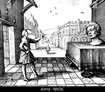 A woodcut engraving depicting an artist using perspective. Dated 17th century - Stock Photo