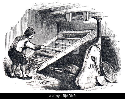 An engraving depicting the process of turning barley into malt: removing rootlets from grain by screening after the kilning stage. Dated 19th century - Stock Photo