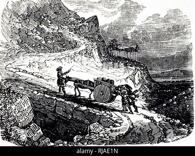 1840, Illustration depicting the ascent by a horse and cart of a steep Scottish highland road - Stock Photo