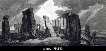 19th century, Illustration depicting Stonehenge; England 1827. Stonehenge is a prehistoric monument in Wiltshire, England. It consists of a ring of standing stones, - Stock Photo