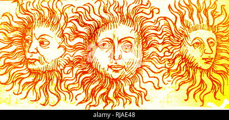 Illustration showing Sun dog phenomenon depicted in the Nuremberg Chronicle. 1493. This version was associated with the death of Julius Caesar in 44 BC. A sun dog (or sundog) or mock sun, formally called a parhelion, (plural Parhelia) in meteorology, is an atmospheric optical phenomenon that consists of a bright spot to the left or right of the Sun. Aristotle notes that 'two mock suns rose with the sun and followed it all through the day until sunset.' - Stock Photo