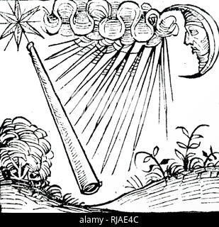 Illustration showing a violent storm and lightning as a thunderbolt flashes. depicted in the Nuremberg Chronicle. 1493. - Stock Photo