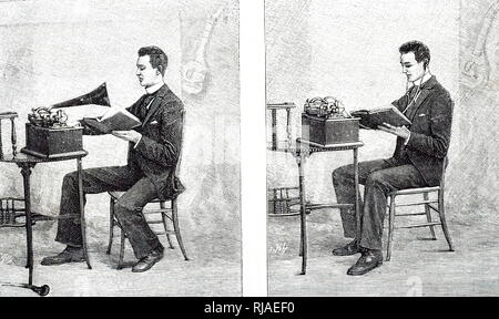 Illustration of an Edison Phonograph used to learn languages. Left: Recording the voice. Right: listening to the recording. 1893 - Stock Photo