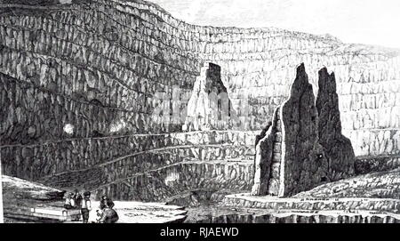An engraving depicting the Penrhyn Slate Quarry, a slate quarry located near Bethesda in north Wales. Dated 19th century - Stock Photo