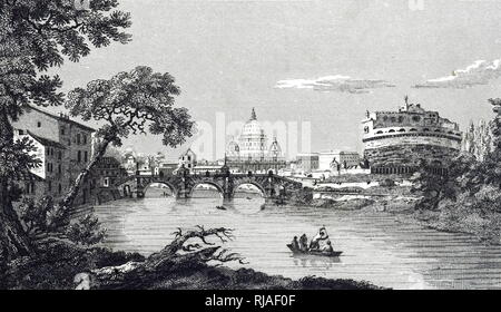 An engraving depicting a view of the Tiber river in Rome. Dated 19th century - Stock Photo