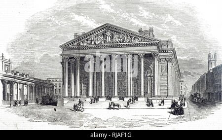 An engraving depicting a view of the Royal Exchange in London, re-opened in 1844. Dated 19th century - Stock Photo