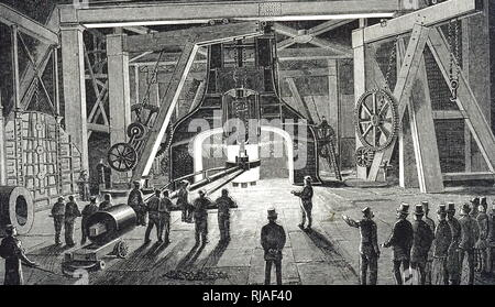 An engraving depicting James Nasmyth's Steam Hammer at the Royal Gun Factory, Woolwich. James Nasmyth (1808-1890) a Scottish engineer, philosopher, artist and inventor. Dated 19th century - Stock Photo
