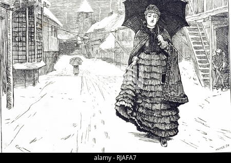 An engraving depicting a young woman walking down a snowy street. Dated 19th century - Stock Photo