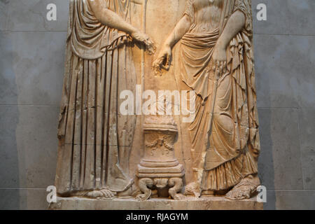 Relief with 2 goddesses. Roman, imperial era. 1st-2nd cent. Altarlike incense burner. Copy of a Greek original. The Met, NY, USA - Stock Photo