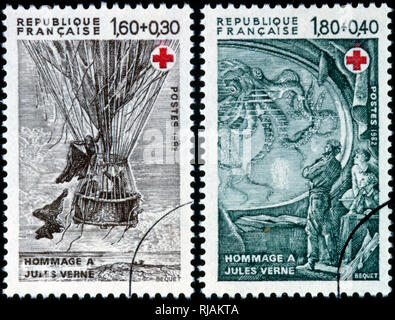 French postage stamp depicting illustrations from books by Jules Verne. 1982
