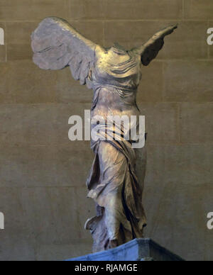 The Winged Victory of Samothrace, also called the Nike of Samothrace, is a marble Hellenistic sculpture of Nike (the Greek goddess of victory), that was created about the 2nd century BC - Stock Photo