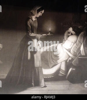 Florence Nightingale,  shown as the lady with the lamp visiting a wounded soldier at the field hospital in the Crimean war 1855. Florence Nightingale, (1820 - 1910) an English social reformer and statistician, and the founder of modern nursing. - Stock Photo